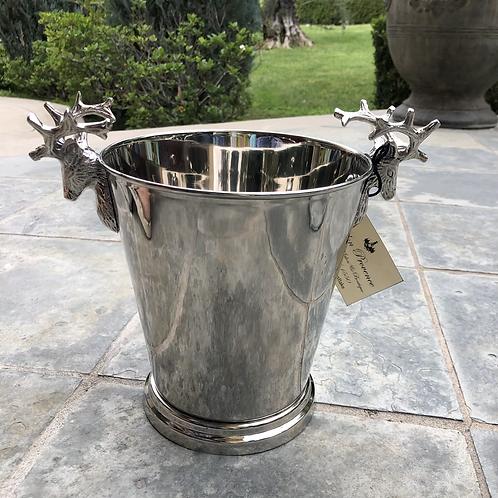 Wine Bucket w/Stag-Polished Nickel