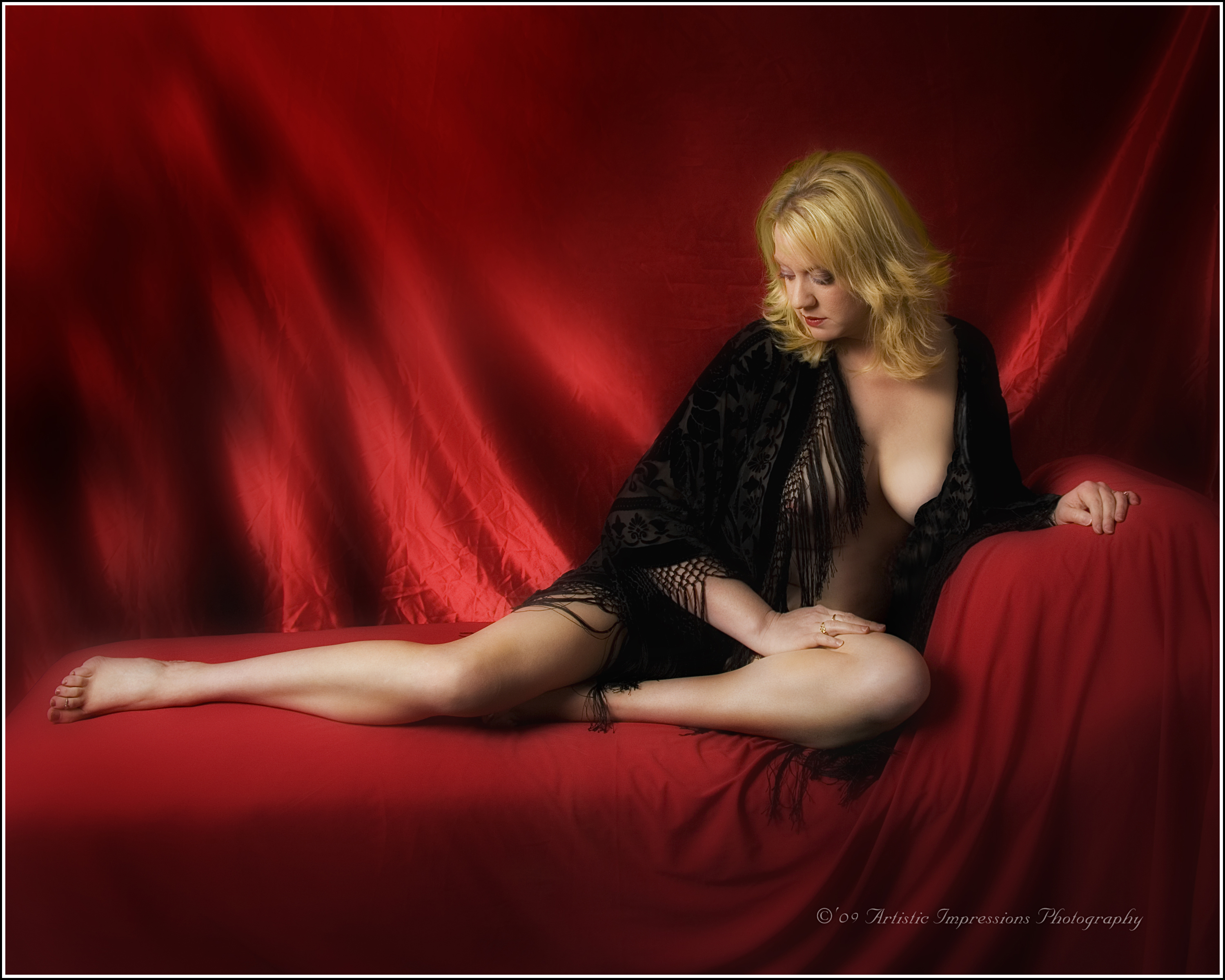 Reclining Black on Red