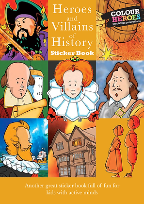 Heroes & Villains of History Sticker Book Yellow