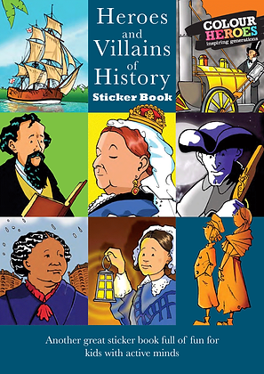 Heroes & Villains History Sticker Book Blue