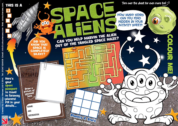 Space Aliens Activity Sheet