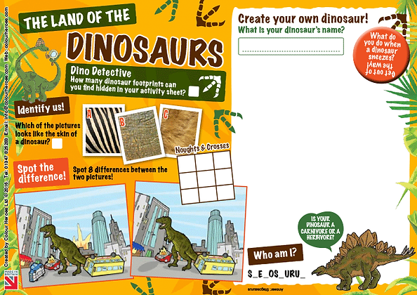 Land of the Dinosaurs Activity Sheet