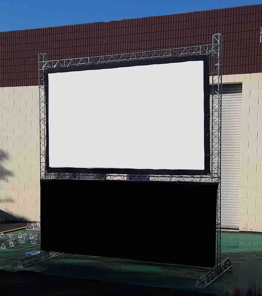 White projector screen outside for London event