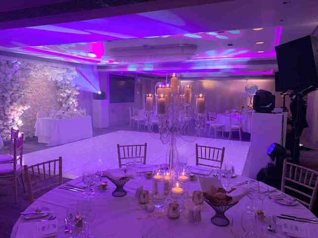 Wedding lighting package with dance floor