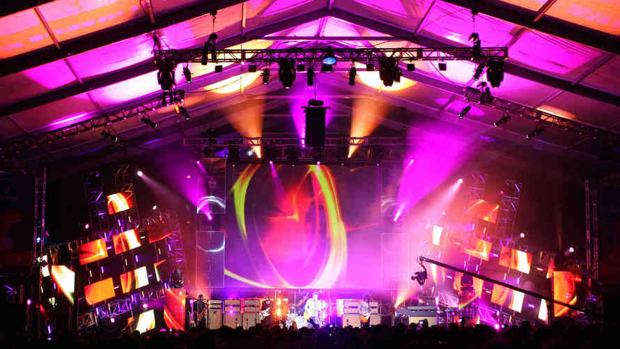 Lighting for a stage in Heathrow with LED screen