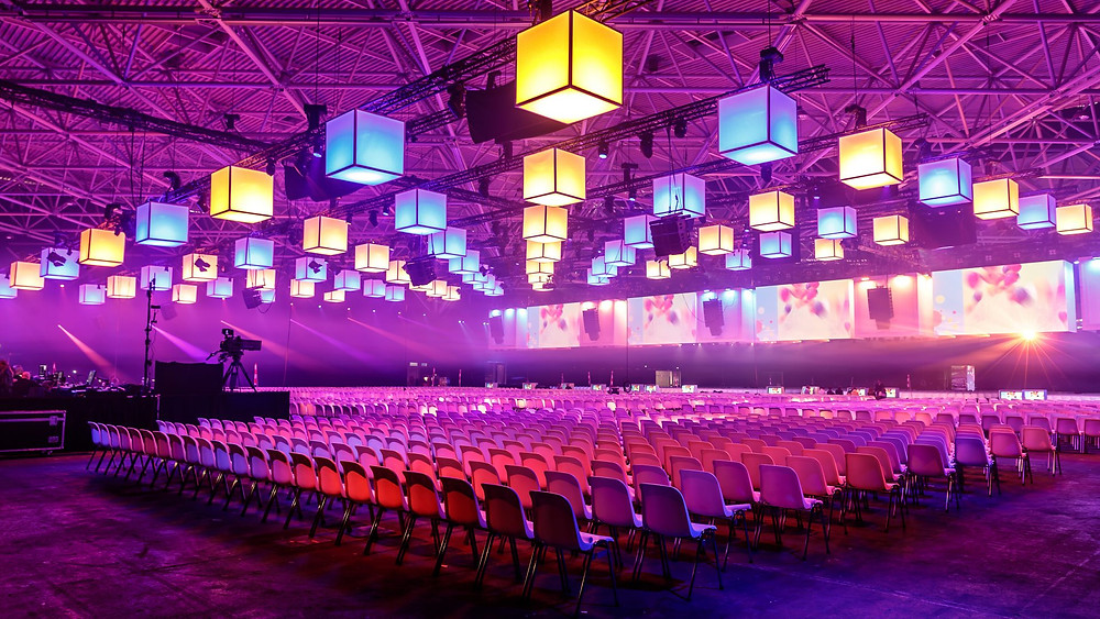 led screen for a conference with seating & lighting