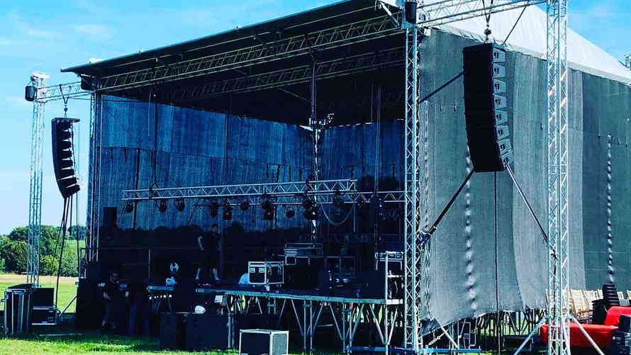Dance music festival in Heathrow with a large 12 meter x 10 meter stage
