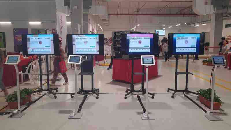 Plasma screens being used for an event