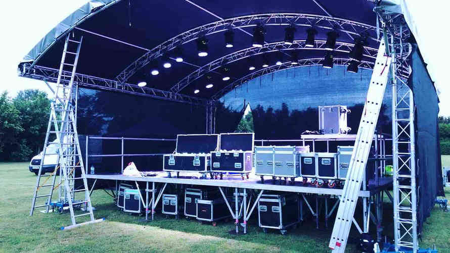 Live music festival in Heathrow with a 7m x 5m stage