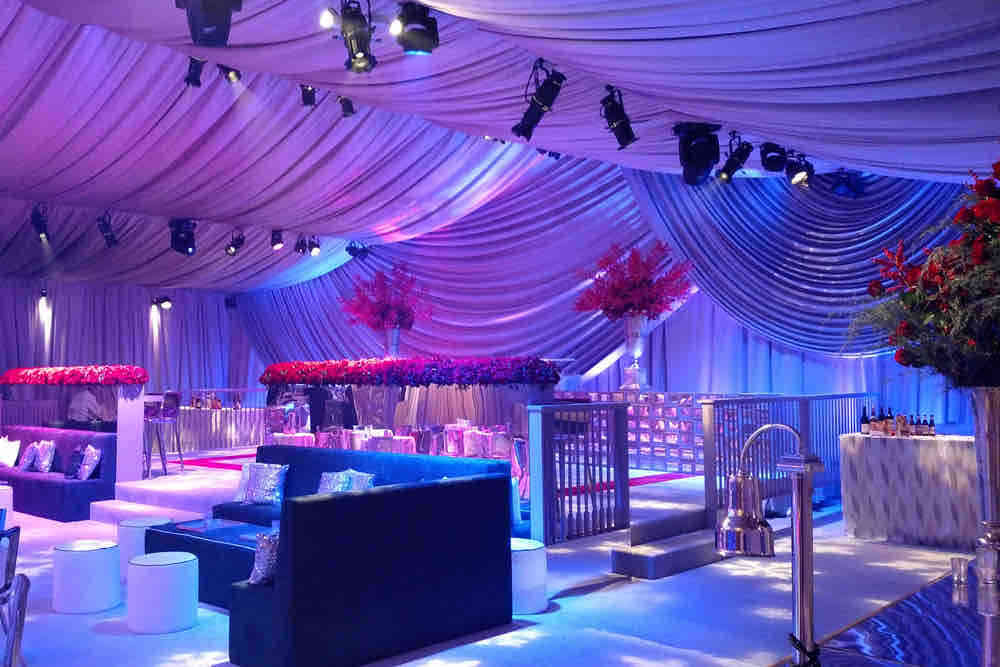 Wireless LED uplighters for a wedding in Heathrow