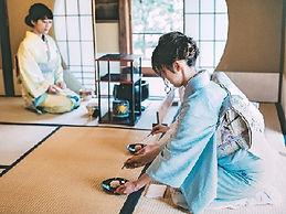 girls in Kimono join tea ceremony