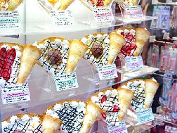 colorful crapes in show window in Harajuku