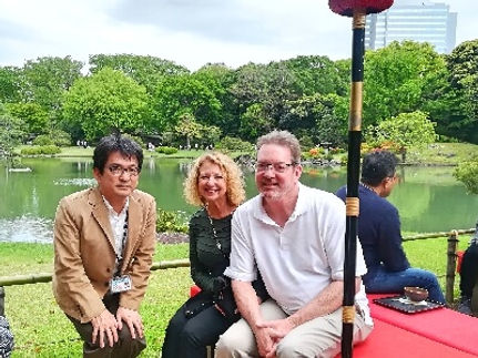 A picture with a guests family in Japanese garden