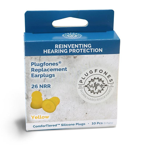 Plugfones  ComforTiered  26 dB Silicone  Replacement Ear Plugs  Yellow