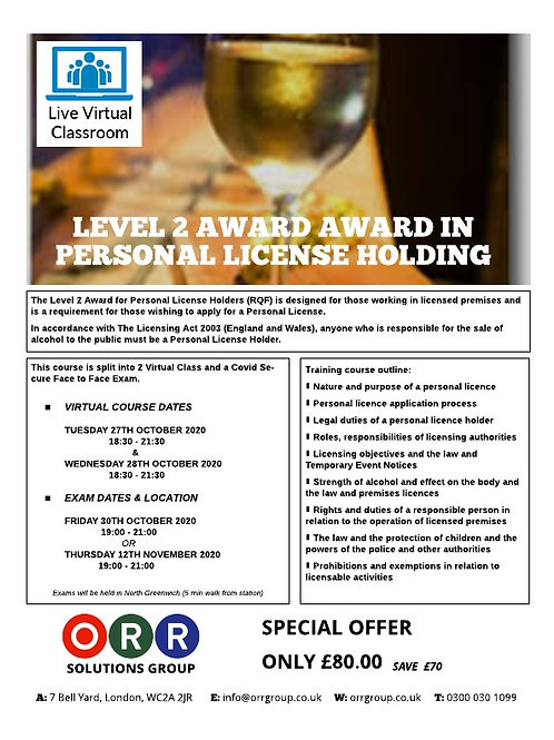 Level 2 Award in Personal License Holding (RQF)