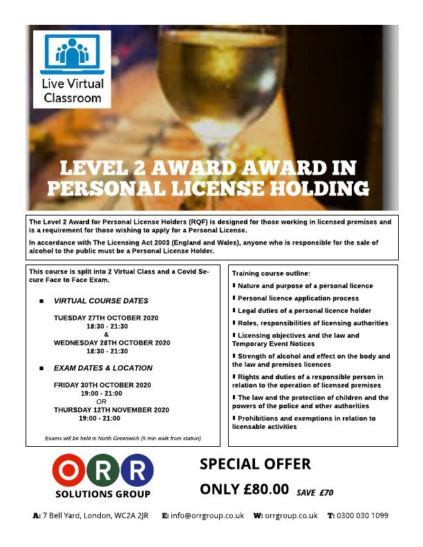 Virtual L2 Award in Personal License Hol