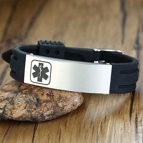 New StainlessSteel Engraving Silicone Medical Bracelet