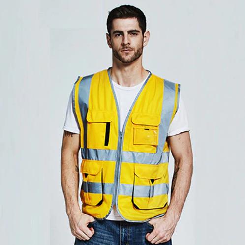 Fluorescent Yellow Orange Construction Hi Vis Vest  (Logo Printing)