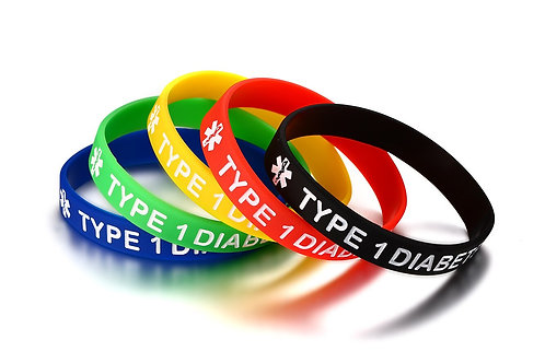 Silicone Medical Alert Bracelet 5 Color Blood Thinner Type 1 Diabetes Bangles