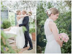Brautpaar Collage mit Brautstrauß