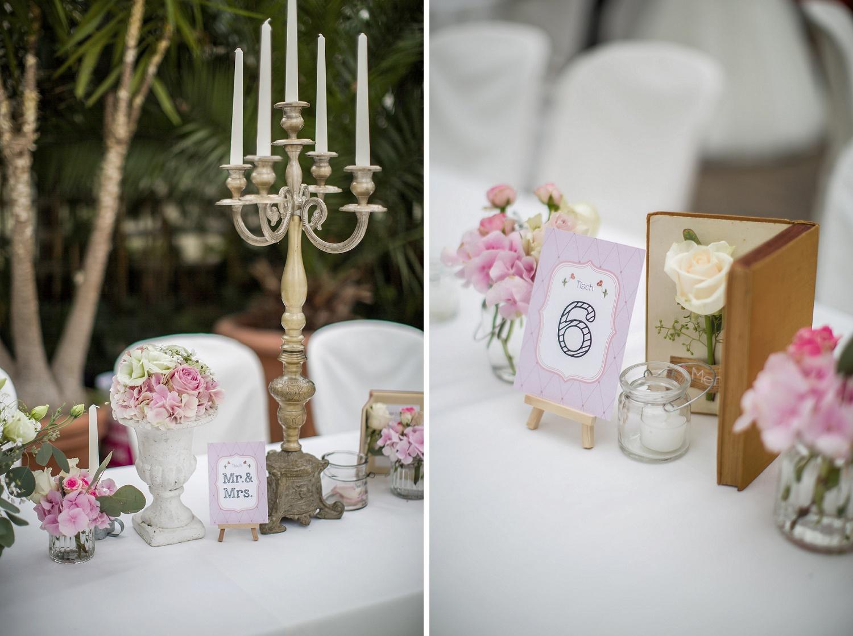 Collage Tischbeschriftungen Hochzeit