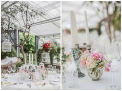Hochzeitstisch Dekoration Collage