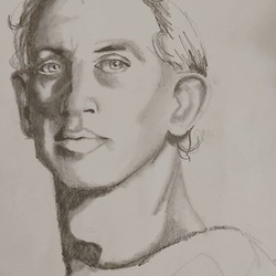 Portrait drawing with Raw Umber studios.