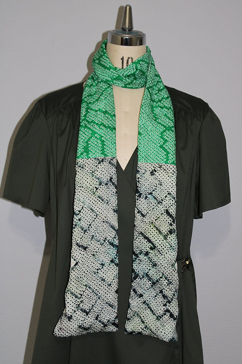 écharpe Japonais verte en soie