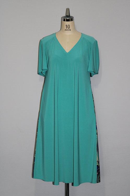 Robe turquoise évasée ample