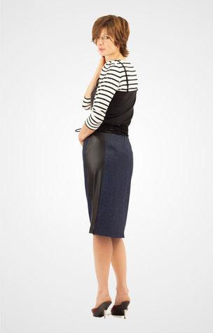 Tshirt rayé et jupe bi-matière