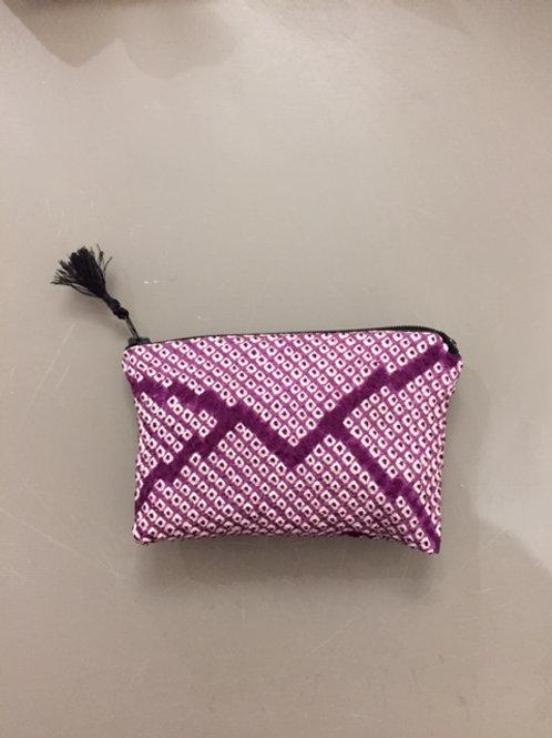 Porte monnaie shibori violet