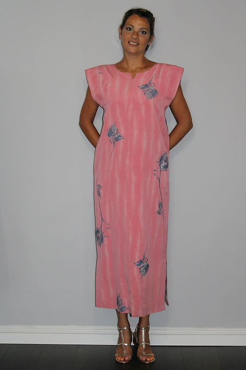 KIMONO Robe maxi rose/argent