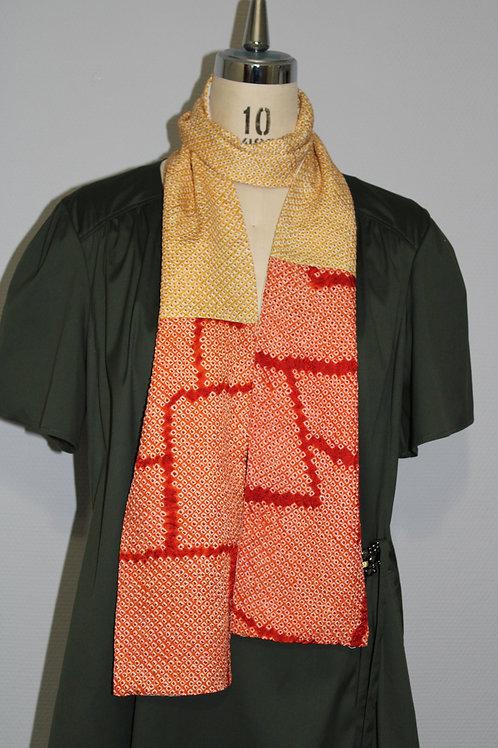 Echarpe Shibori Japonais en soie orange/blanc