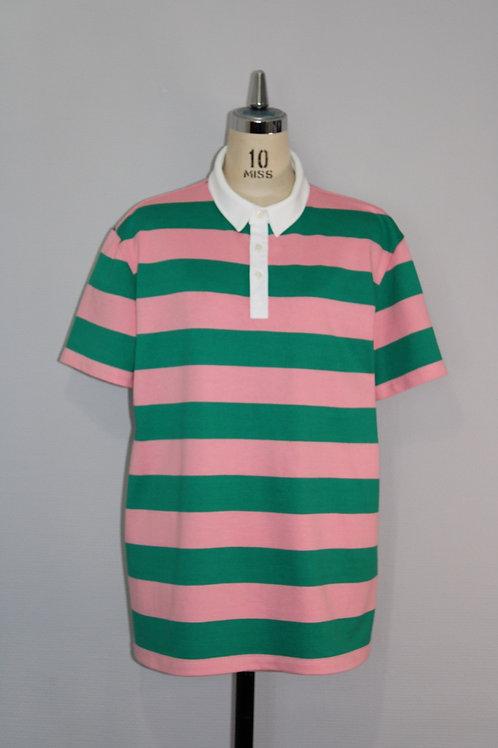 Polo T rayé vert rose homme