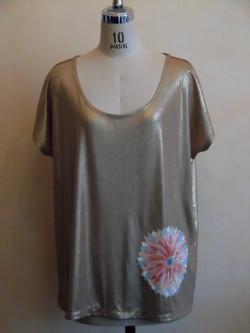 T-shirt doré fleur kimono vintage