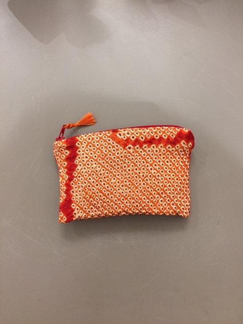 Porte monnaie shibori orange