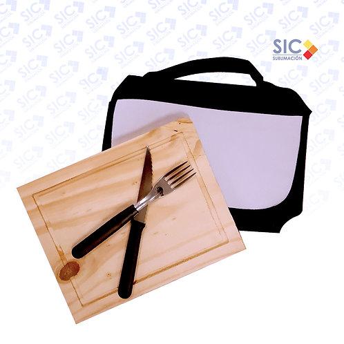 Set de Asado Rectangular Premium (INCLUYE TABLA Y CUBIERTOS)