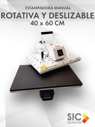 Estampadora Manual Rotativa con bandeja deslizable 40x60