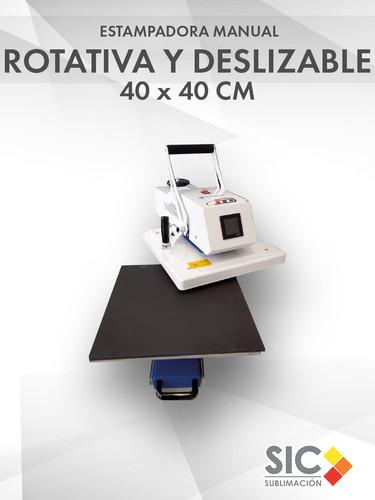 Estampadora Manual Rotativa con Bandeja Deslizable 40 x 40 cm