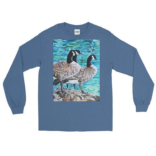 Geese Sunbathing: Men's Long Sleeve Shirt