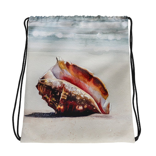 Conch Shell on the Beach: Drawstring bag