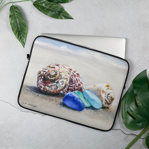 Sea Glass and Seashells on the Beach: Laptop Sleeve