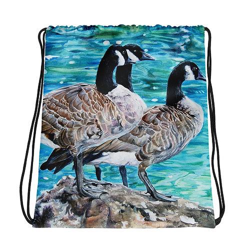 Geese Sunbathing: Drawstring bag