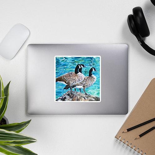 Geese Sunbathing: Bubble-free stickers