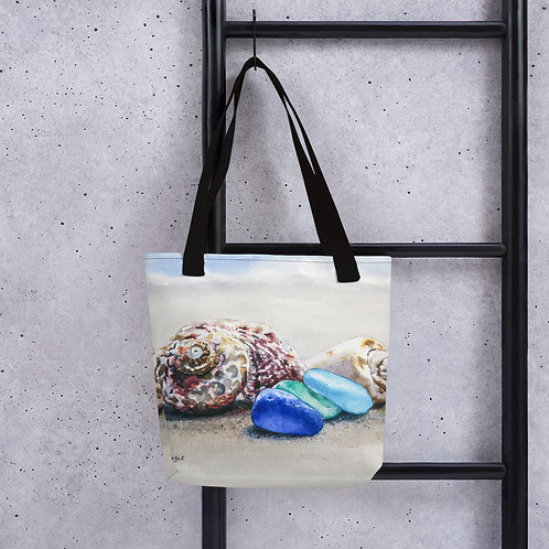 Sea Glass and Seashells on the Beach: Tote bag