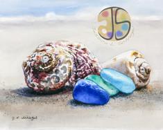 Seashells and Sea Glass on the Beach