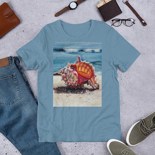 Murex Shell on the Beach: Short-Sleeve Unisex T-Shirt