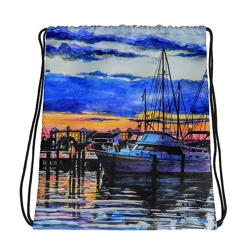Sunset on the Marina: Drawstring bag