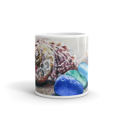 Sea Glass and Seashells on the Beach: Mug