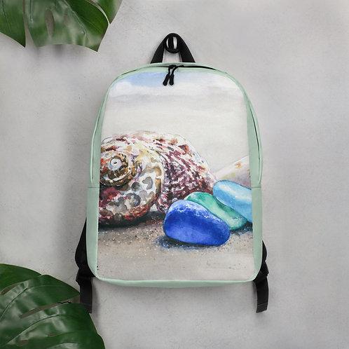Sea Glass and Seashells on the Beach: Minimalist Backpack
